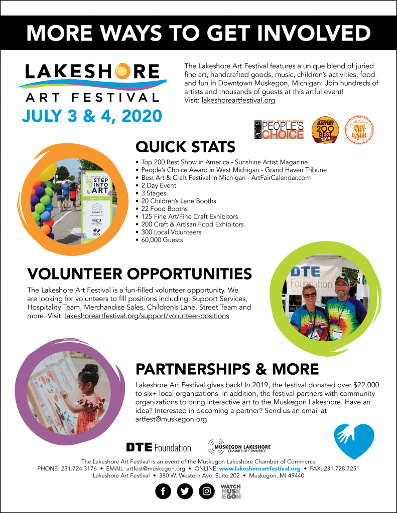 The View Sponsors List 2020.Support Lakeshore Art Festival Downtown Muskegon Mi